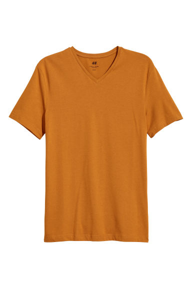 V-neck T-shirt Slim Fit - Ochre -  | H&M