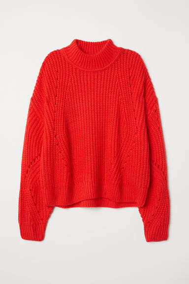 Rib-knit Sweater - Bright red - Ladies | H&M US
