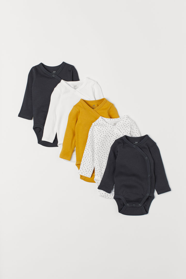 5-pack wrapover bodysuits - Mustard yellow - Kids | H&M CN
