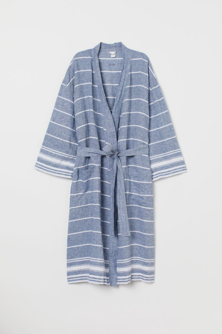 Washed linen dressing gown - Blue/White striped -  | H&M CN