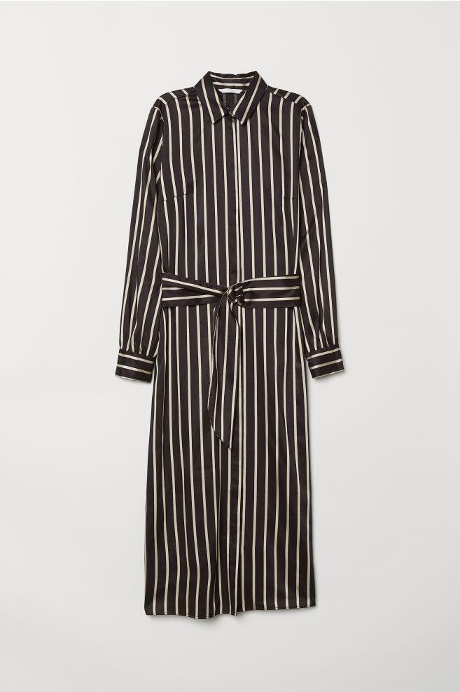 997ca7aa2991 Calf-length shirt dress - Black/Striped - Ladies | H&M ...