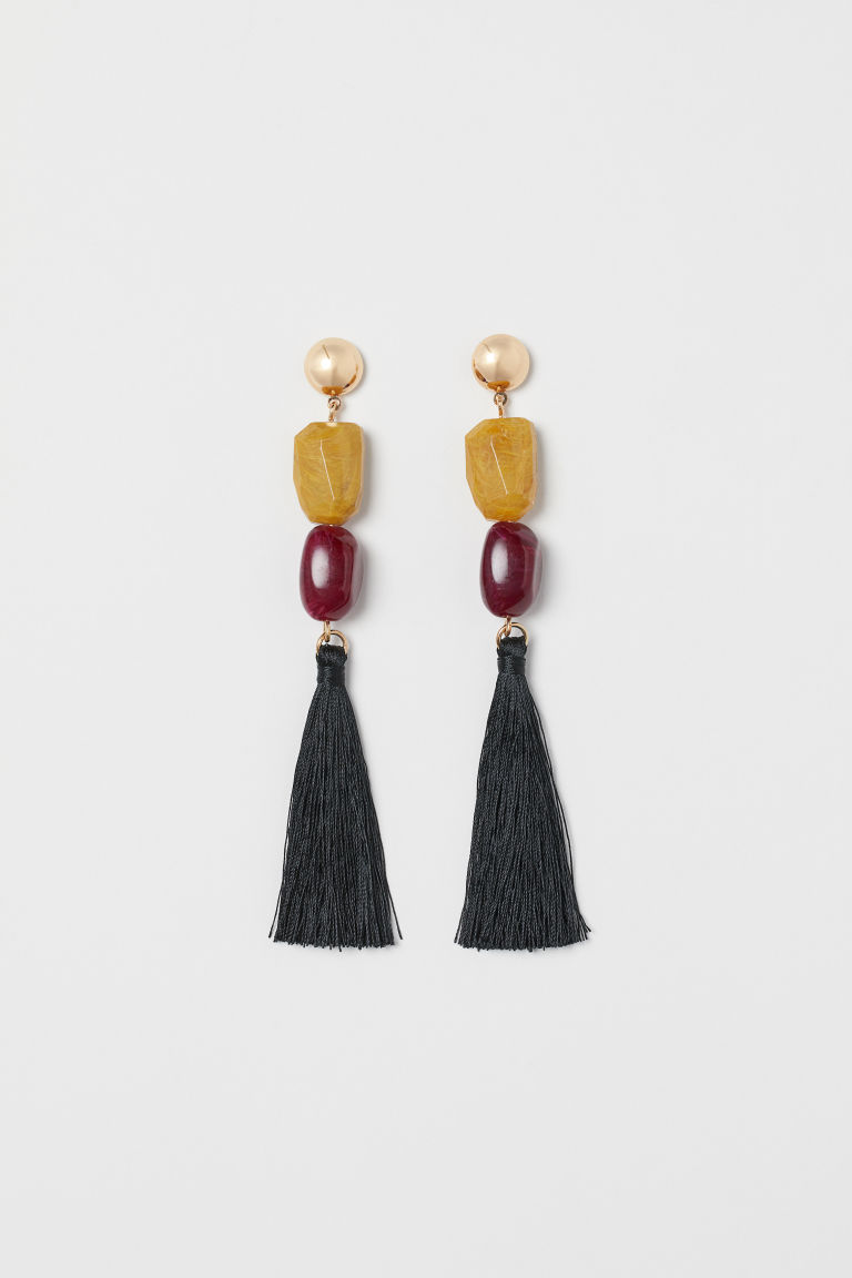 Long tasselled earrings - Gold-coloured/Dark red - Ladies | H&M CN