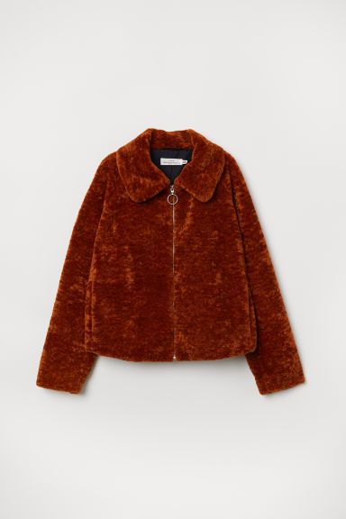 Short pile jacket - Rust brown - Ladies | H&M CN