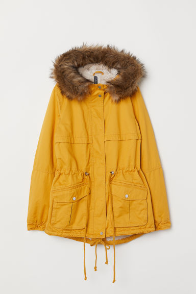 Pile-lined parka - Yellow -  | H&M