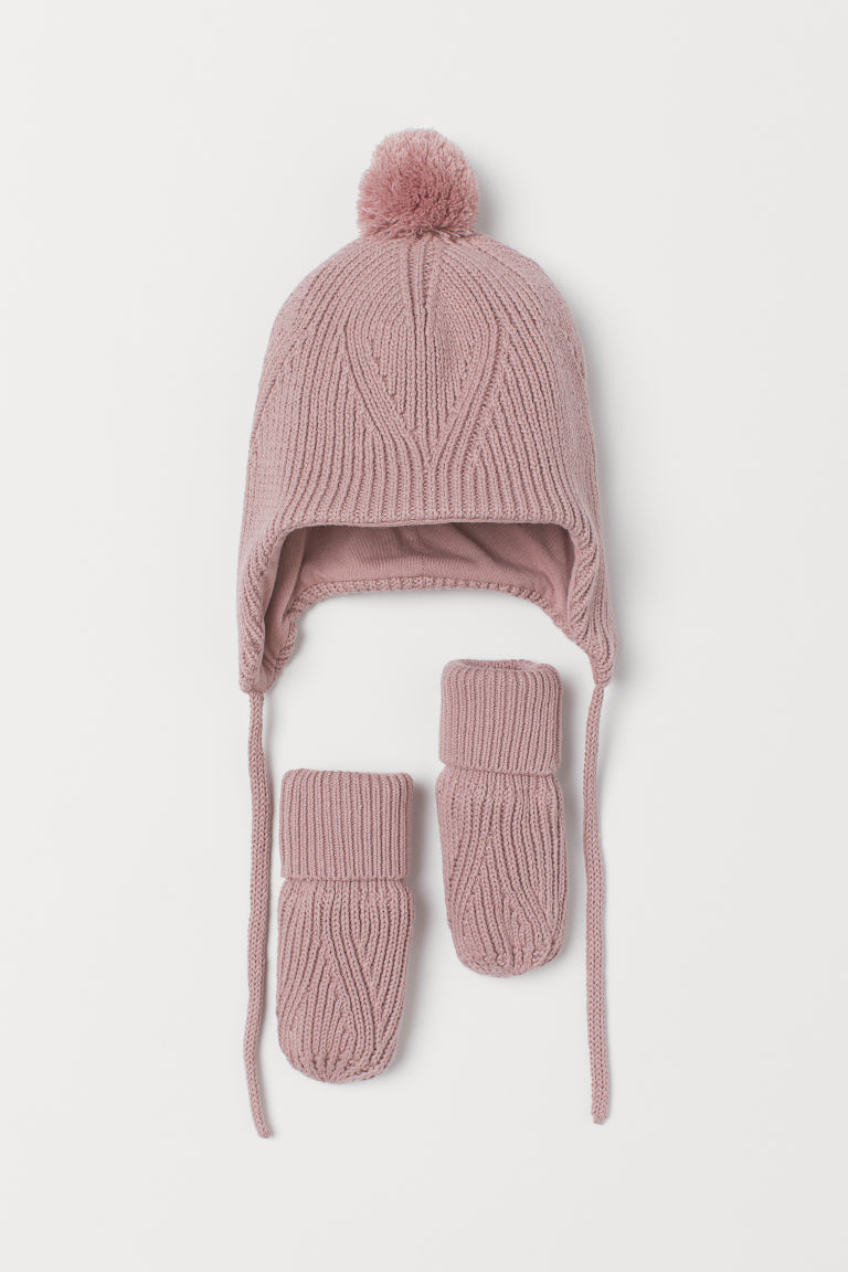 Cotton Hat and Mittens - Dusty rose - Kids | H&M US