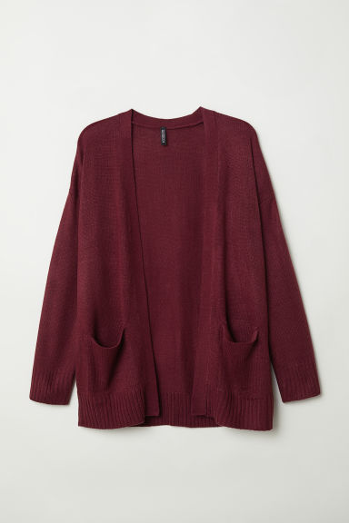 Knitted cardigan - Burgundy - Ladies | H&M IN