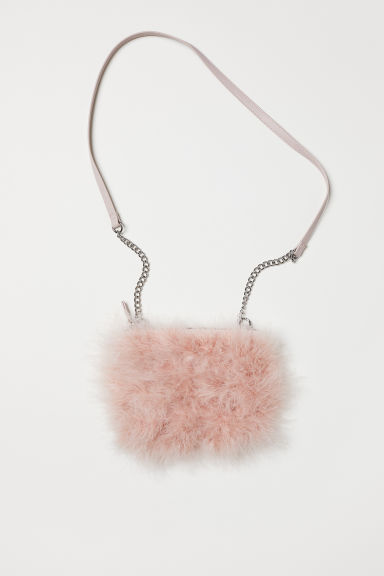 Shoulder bag with faux fur - Powder pink - Ladies | H&M
