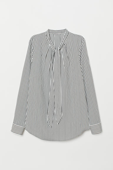 Tie-collar blouse - White/Black striped - Ladies | H&M CN