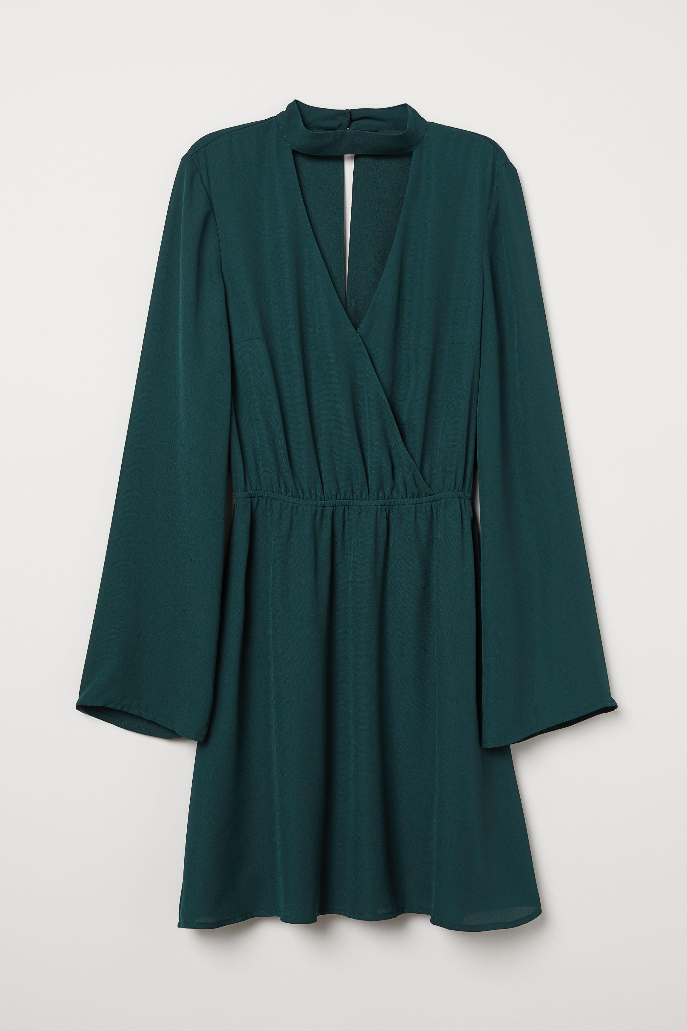 b9748e47fe7 Robe croisée à encolure en V - Noir - FEMME
