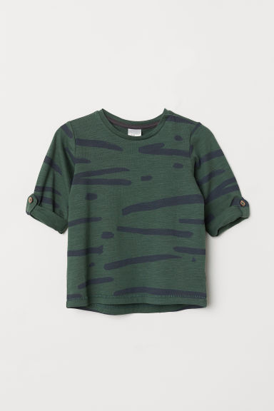 Patterned cotton top - Dark green/Patterned - Kids | H&M CN