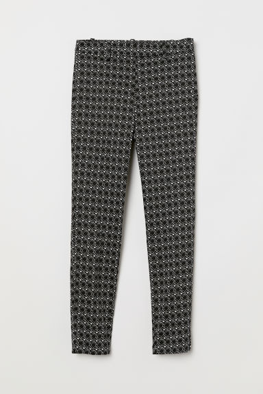 Cigarette trousers - Black/White patterned -  | H&M