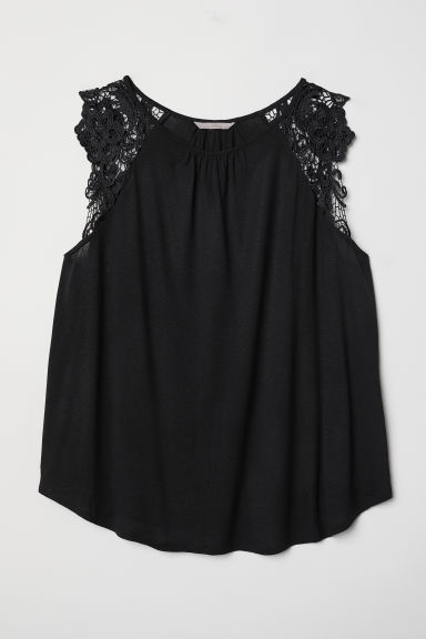 H&M+ Jersey top with lace - Black - Ladies | H&M CN