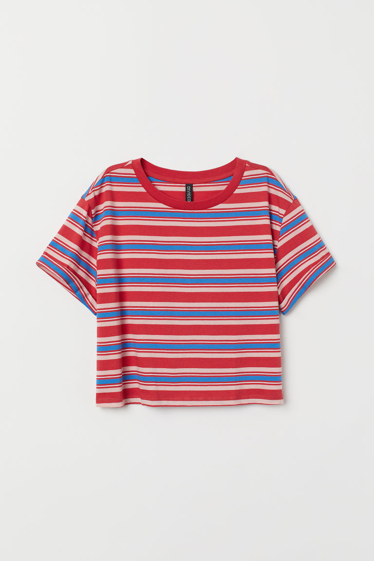 T-shirt corta - Rosso/righe -  | H&M IT