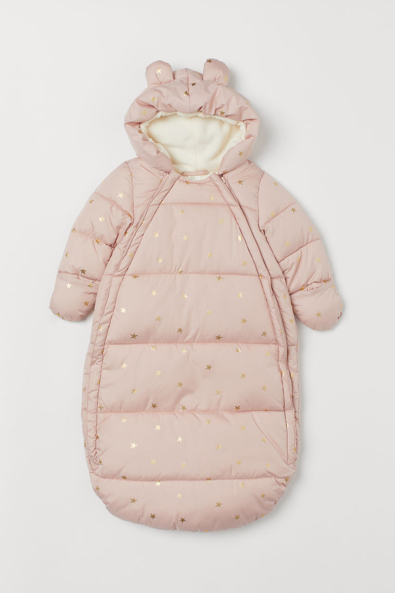 Padded footmuff with a hood - Powder pink/Stars - Kids | H&M IN