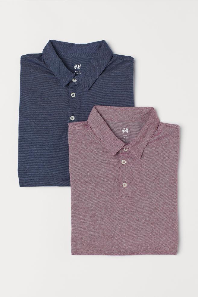 4444df0af93e7 ... 2-pack Slim Fit Polo Shirts - Dark blue burgundy - Men