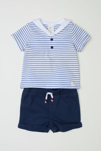 T-shirt and shorts - Dark blue/Sailor top -  | H&M