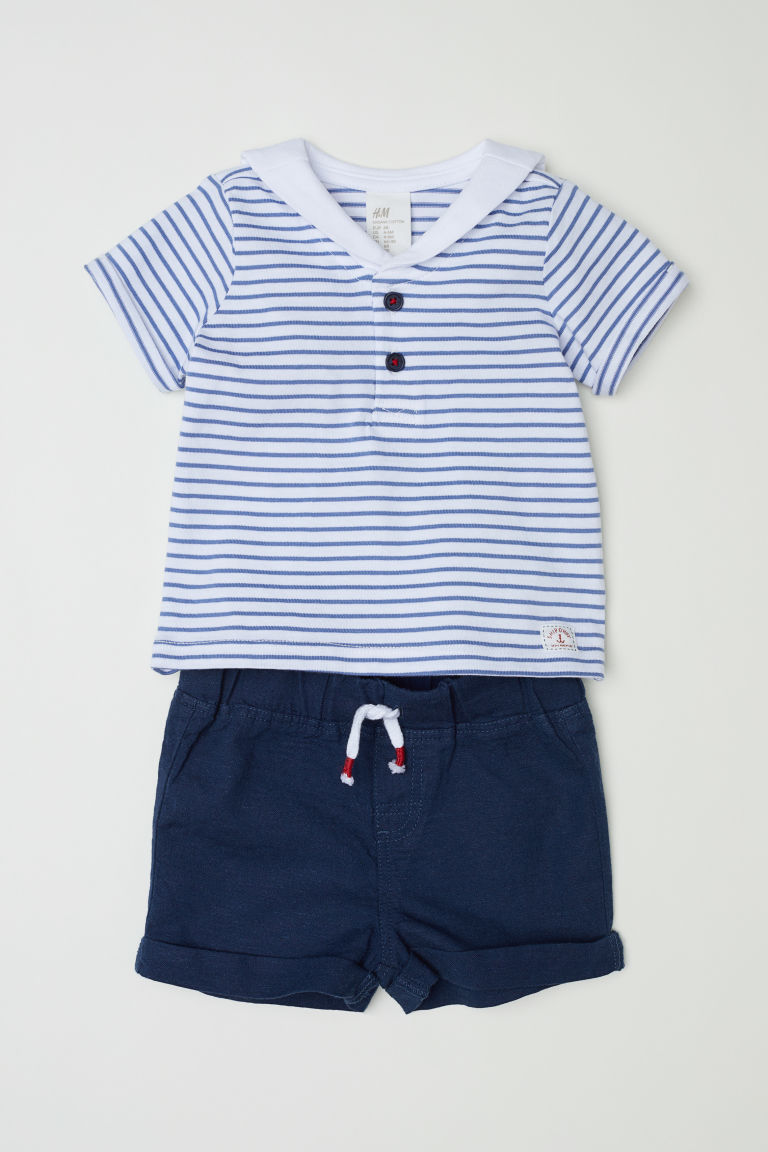 T-shirt and shorts - Dark blue/Sailor top - Kids | H&M CN