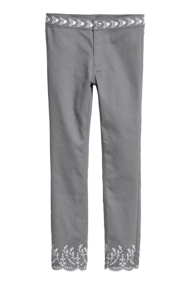 Embroidered trousers - Grey - Ladies | H&M CN
