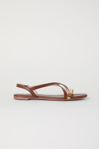 Sandals - Dark brown/Gold-coloured - Ladies | H&M CN
