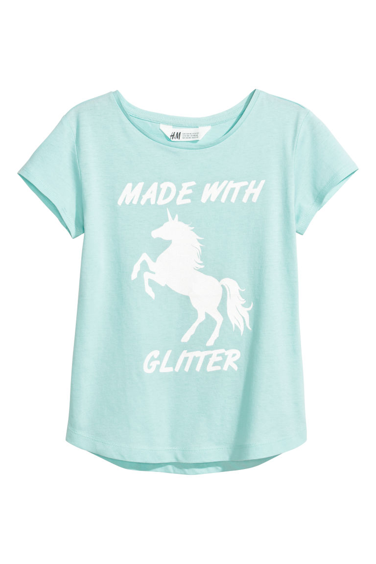 Printed jersey top - Mint green/Made With Glitter - Kids | H&M