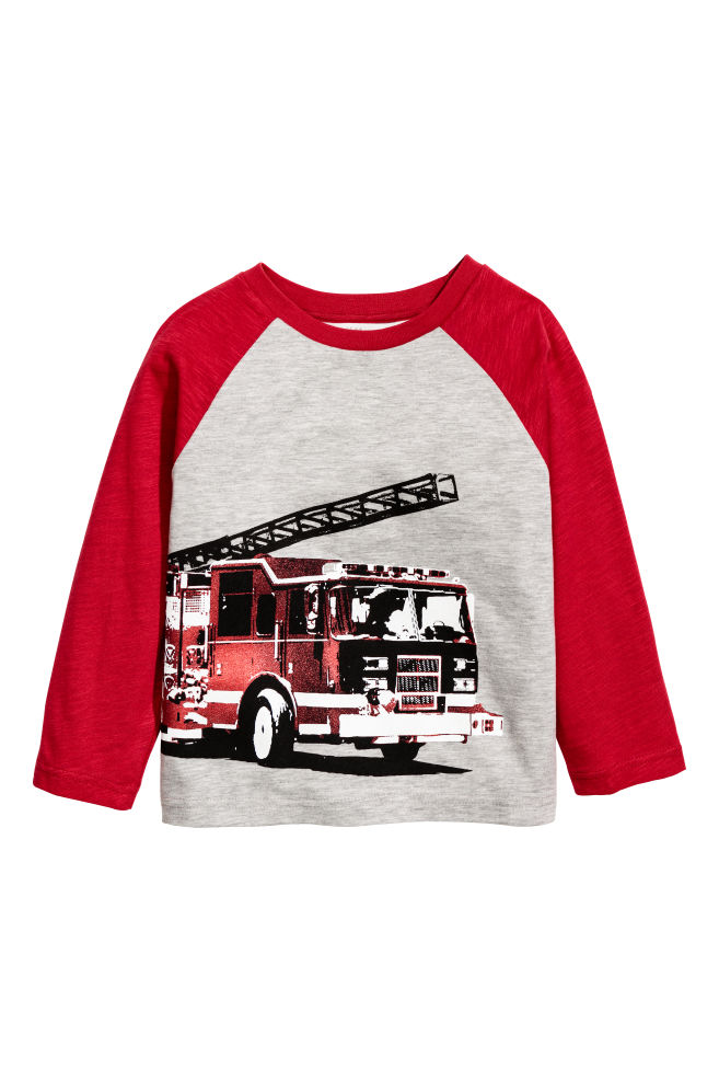 b3dd459ee17 Printed Jersey Shirt - Gray/fire engine - Kids | H&M ...