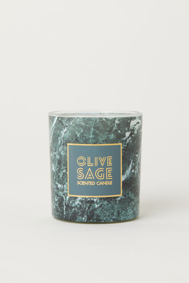 Scented candle in glass holder - Dark green/Olive & Sage - Home All | H&M IE
