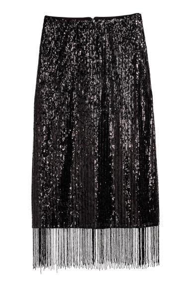 Calf-length sequined skirt - Black -  | H&M IE