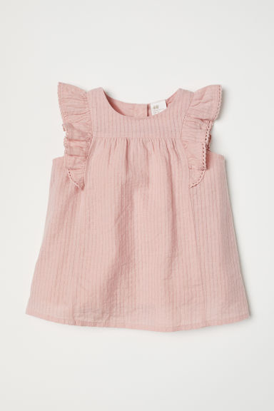 Blouse with woven stripes - Powder pink - Kids | H&M