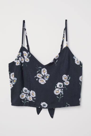 Crop top - Donkerblauw/bloemen - DAMES | H&M BE