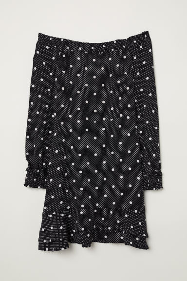 Crêpe dress with smocking - Black/Spotted -  | H&M CN
