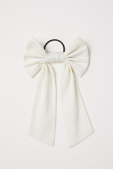 Hair Elastic with Bow - Natural white -  | H&M US