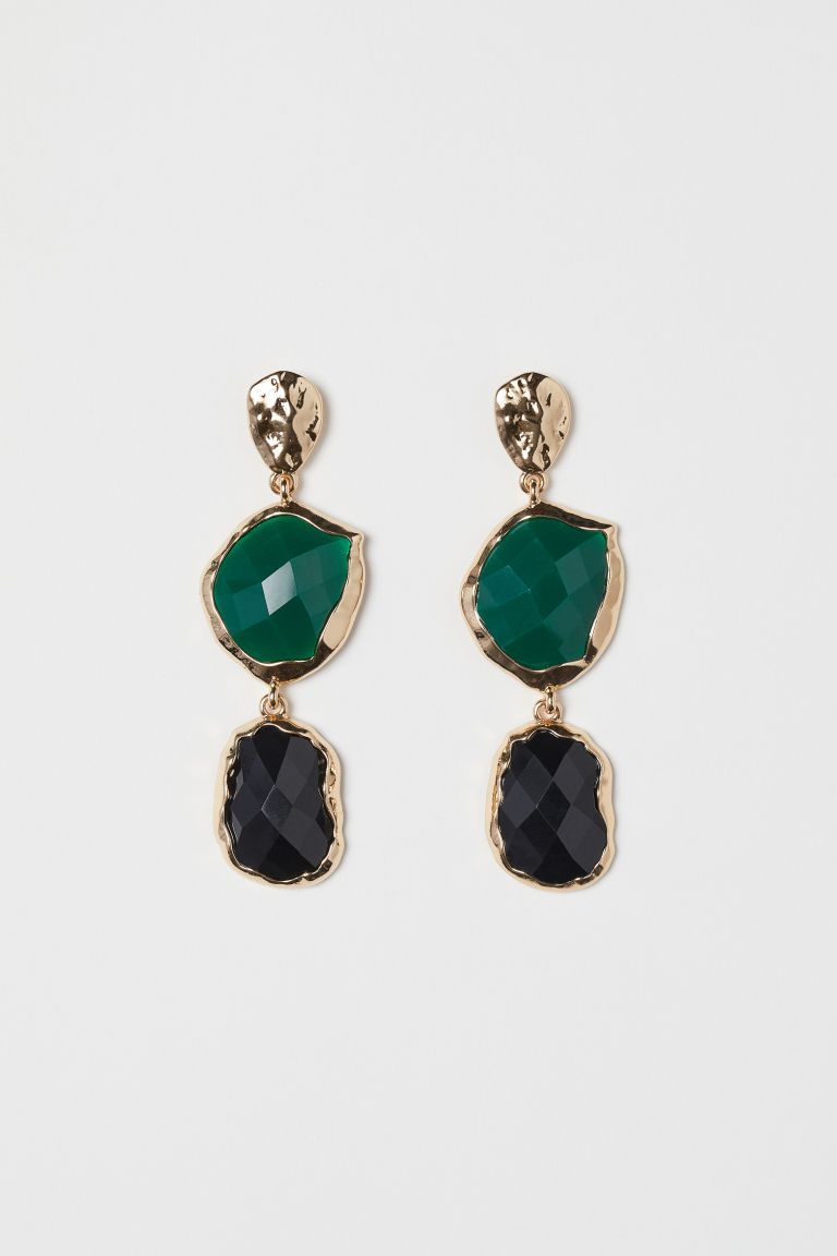 Long earrings - Gold-coloured/Green - Ladies | H&M CN