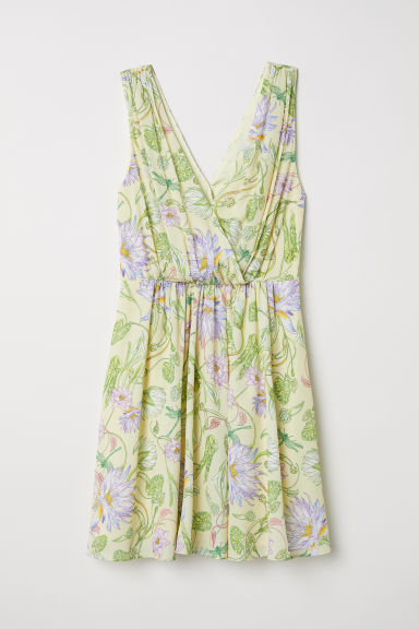 Short dress - Light yellow/Floral -  | H&M