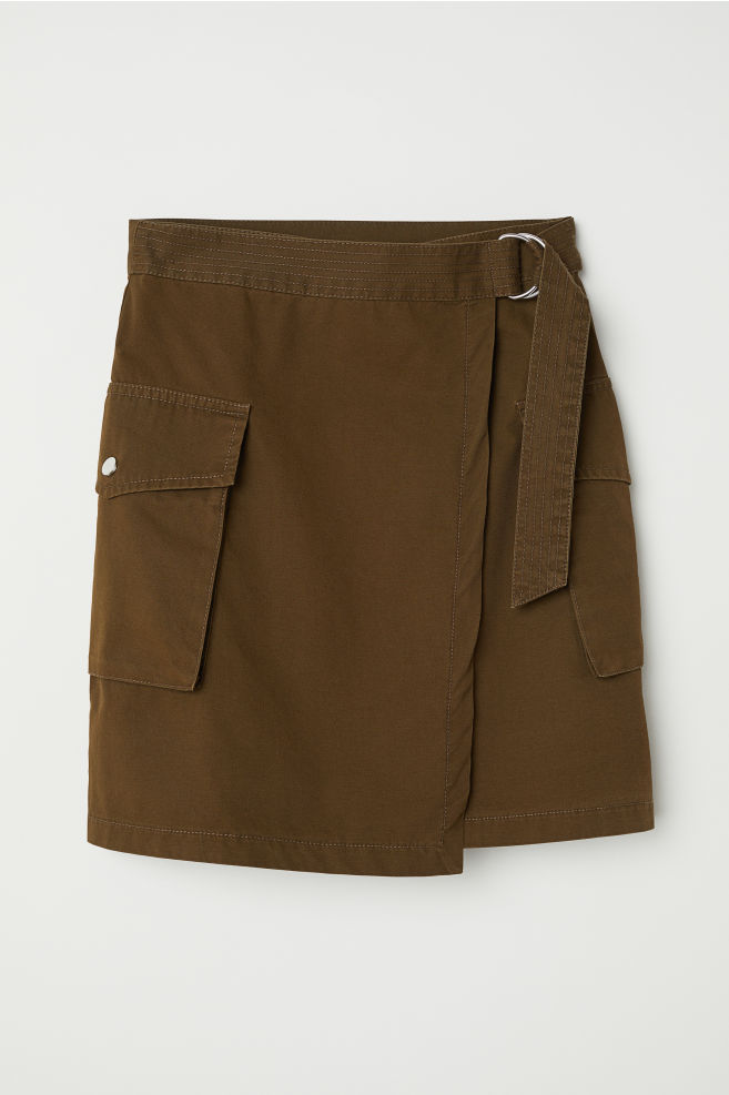 e4b45b670a Short cargo skirt - Dark khaki green - | H&M ...