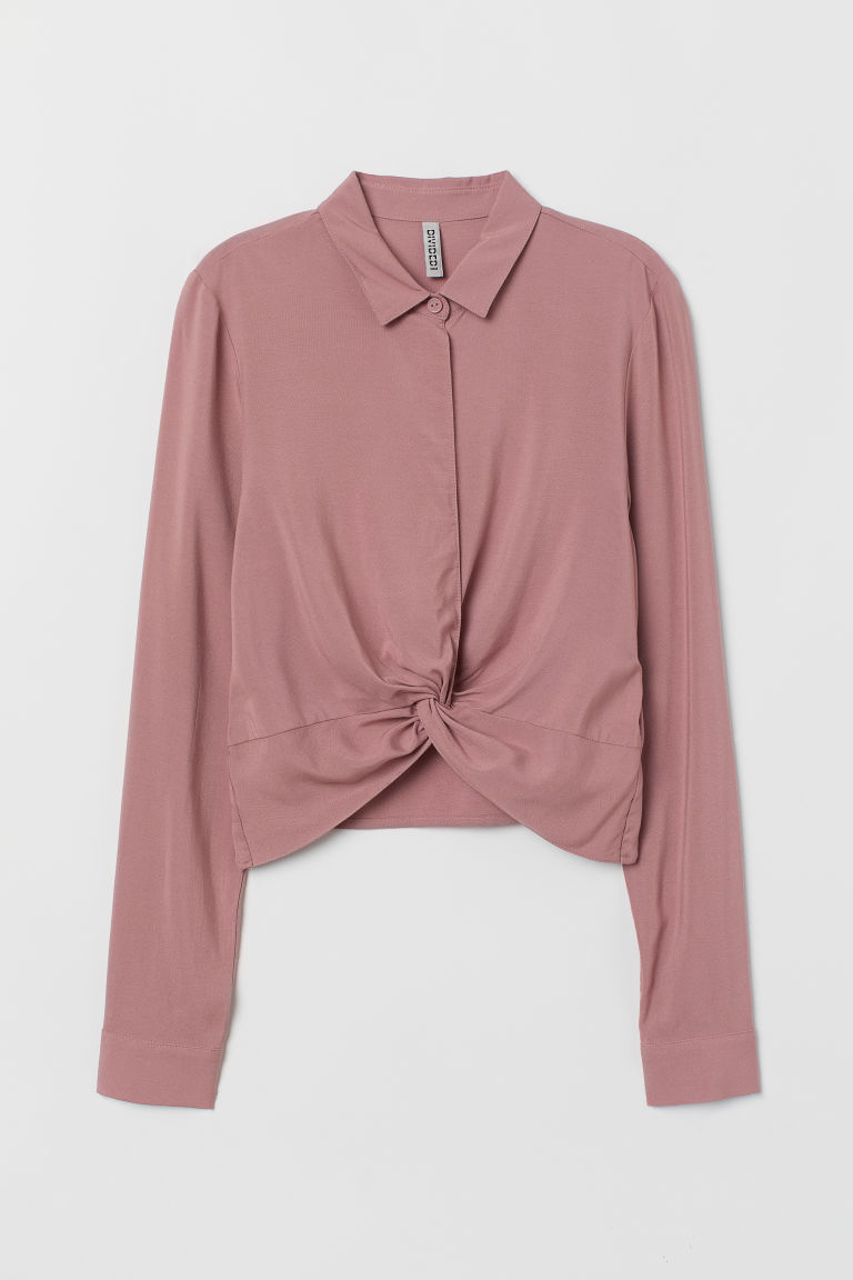 Knot-detail blouse - Old rose -  | H&M