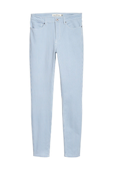 Pantaloni superstretch - Azzurro/righe - DONNA | H&M IT