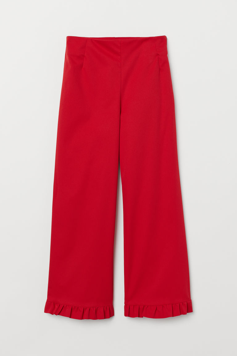 Frilled-trimmed trousers - Red - Ladies | H&M