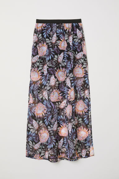 Long skirt - Black/Botanical -  | H&M CN