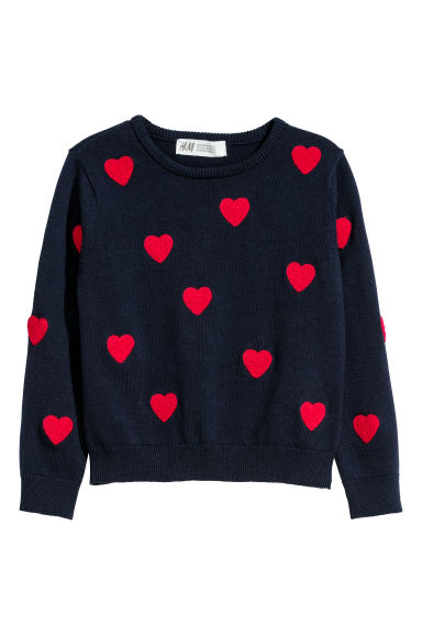 Fine-knit jumper - Dark blue/Hearts - Kids | H&M