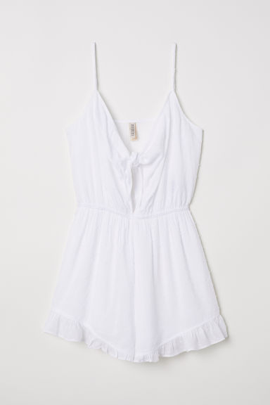 Playsuit met striklintjes - Wit - DAMES | H&M BE