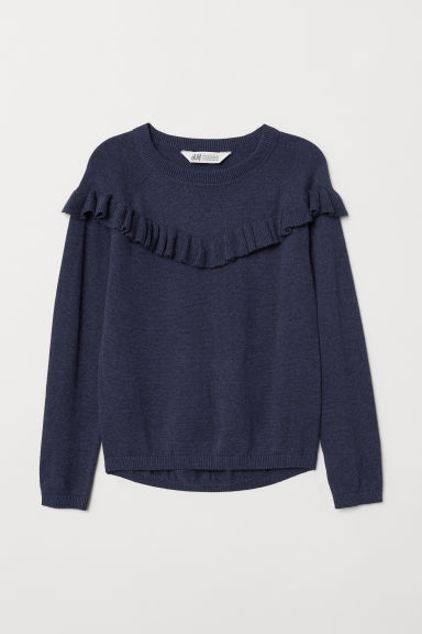 Fine-knit frilled jumper - Dark blue marl - Kids | H&M CN