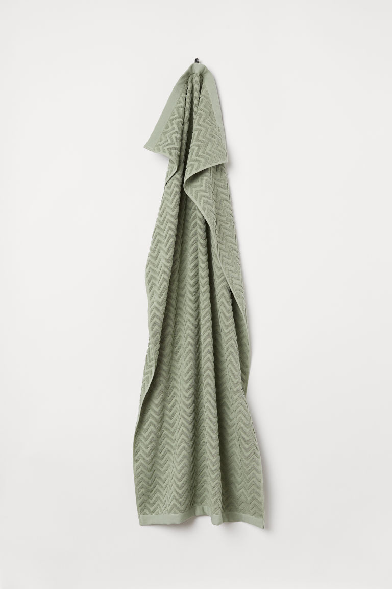 Jacquard-patterned bath towel - Dusky green - Home All | H&M CN