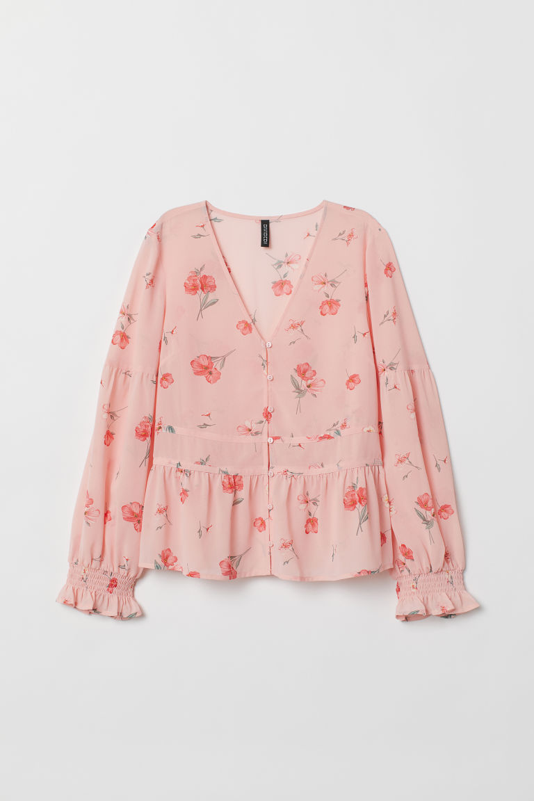 V-neck peplum blouse - Light pink/Floral -  | H&M