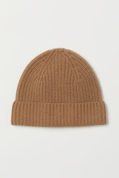 Ribbed cashmere hat - Dark beige - Men | H&M