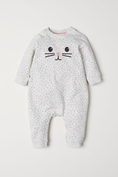 Printed all-in-one suit - Light grey/Patterned - Kids | H&M CN