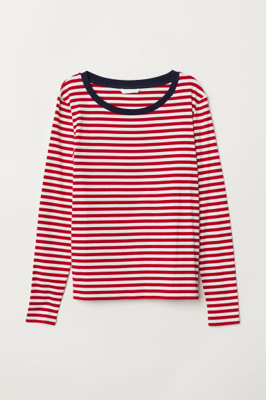 Striped jersey top - Red/White striped - Ladies | H&M CN