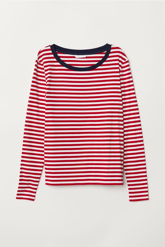 f8f0163445 Striped jersey top - Red/White striped - Ladies   H&M ...