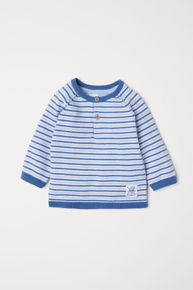 Fine-knit jumper with buttons - Light blue/Striped - Kids | H&M CN