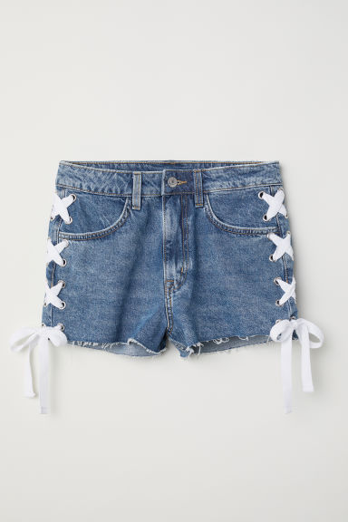 Shorts in denim - Blu denim/lacci - DONNA | H&M IT
