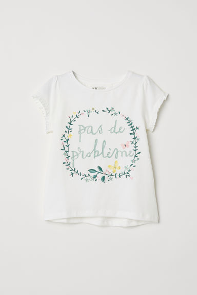 T-shirt with frilled sleeves - White/Flowers -  | H&M